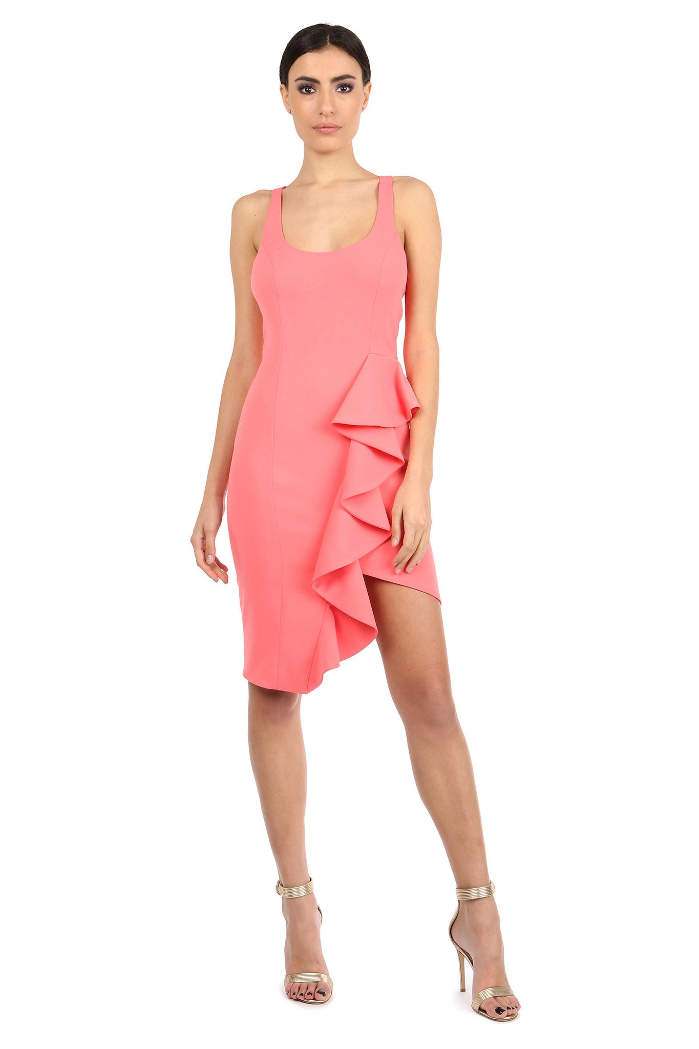 Jay Godfrey Coral Scoop Neck Ruffle Dress - Front View
