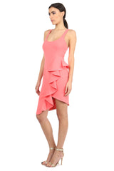 Jay Godfrey Coral Scoop Neck Ruffle Dress - Side View