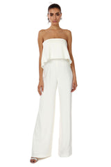 Jay Godfrey Ivory Tiered Jumpsuit - Front View