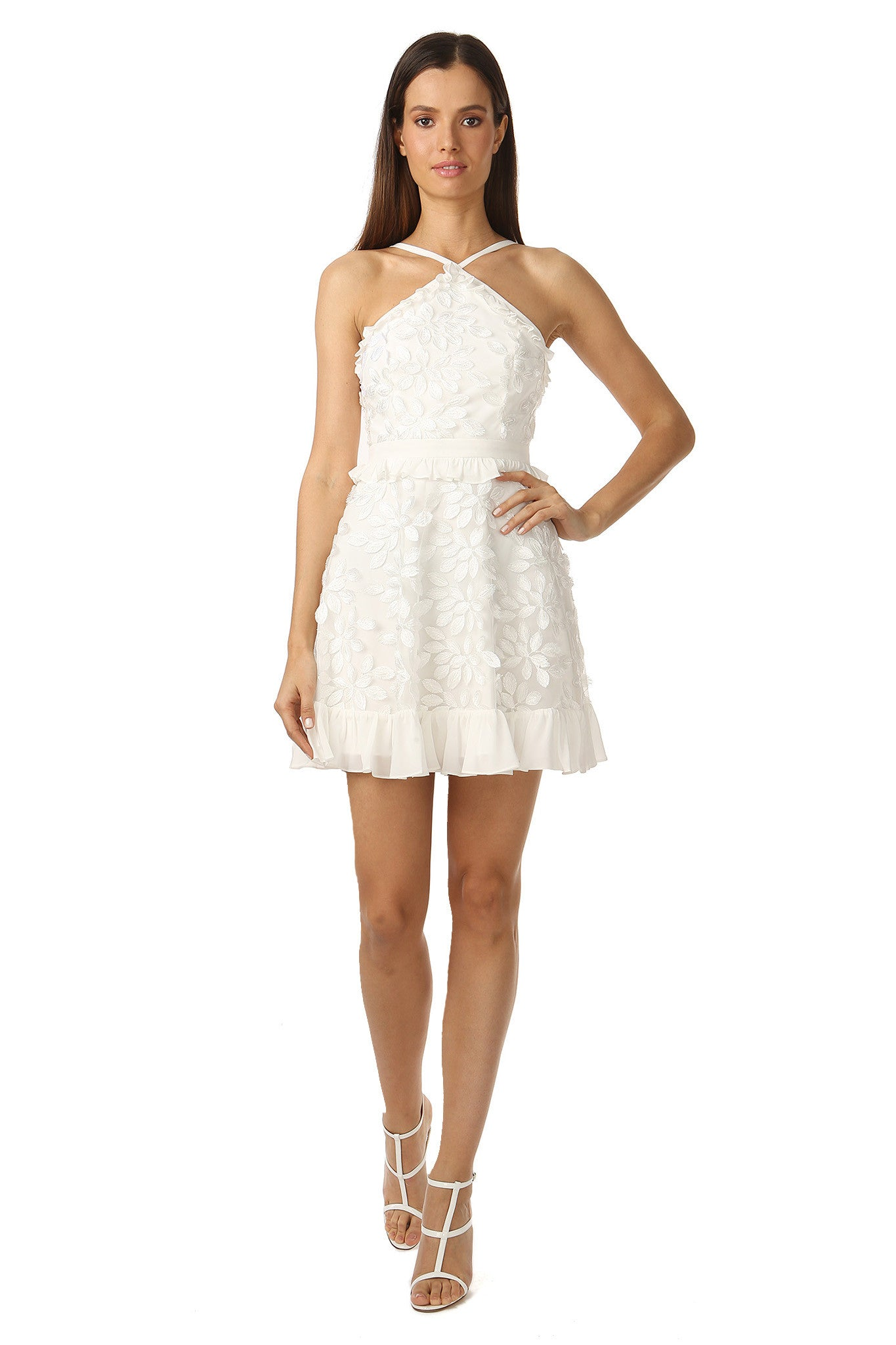 Jay Godfrey White Floral Midi Dress - Front View