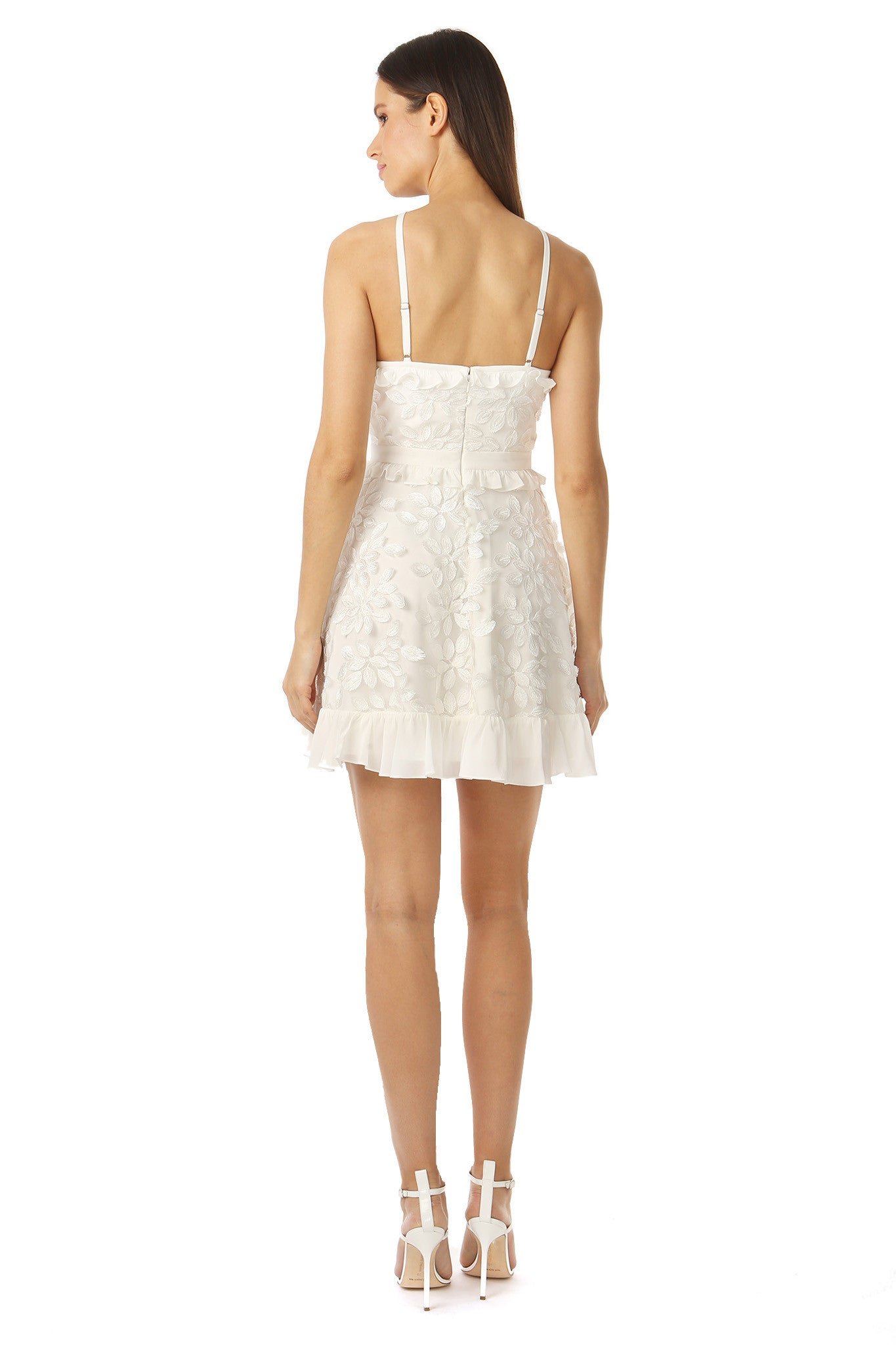 Jay Godfrey White Floral Midi Dress - Back View
