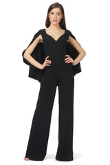 Jay Godfrey Black Cape Jumpsuit - Front View