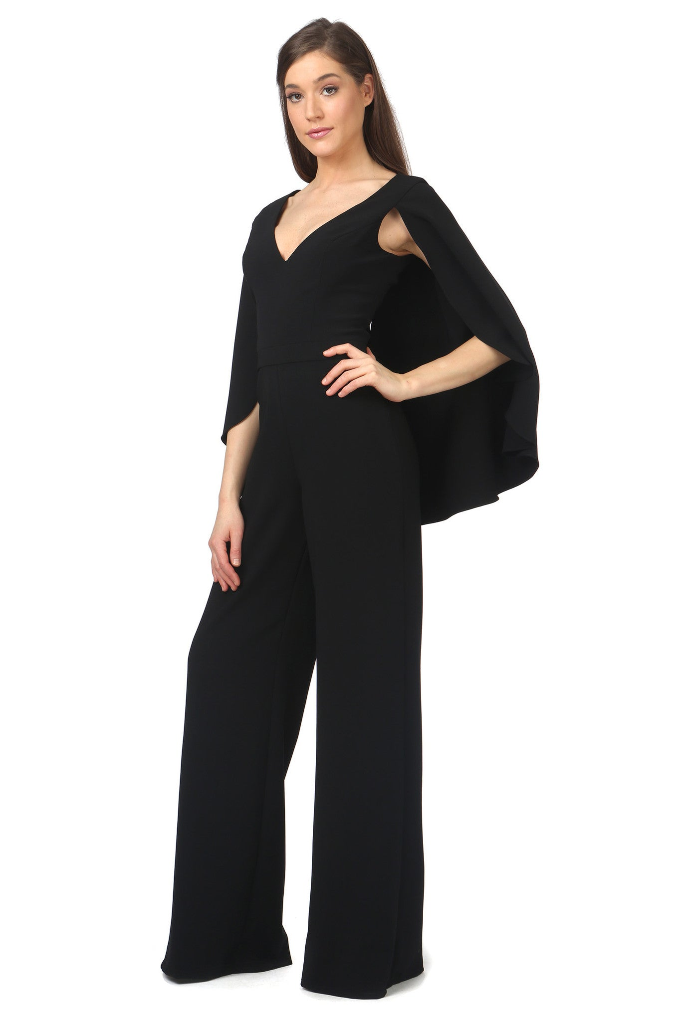 Jay Godfrey Black Cape Jumpsuit - Side View