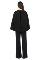 Jay Godfrey Black Cape Jumpsuit - Back View