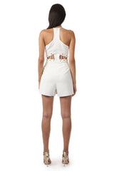 Jay Godfrey Ivory Cut-Out Romper - Back View