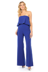 Jay Godfrey Blue Tiered Jumpsuit - Front View