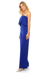Jay Godfrey Blue Tiered Jumpsuit - Side View