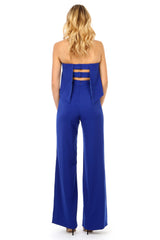 Jay Godfrey Blue Tiered Jumpsuit - Back View