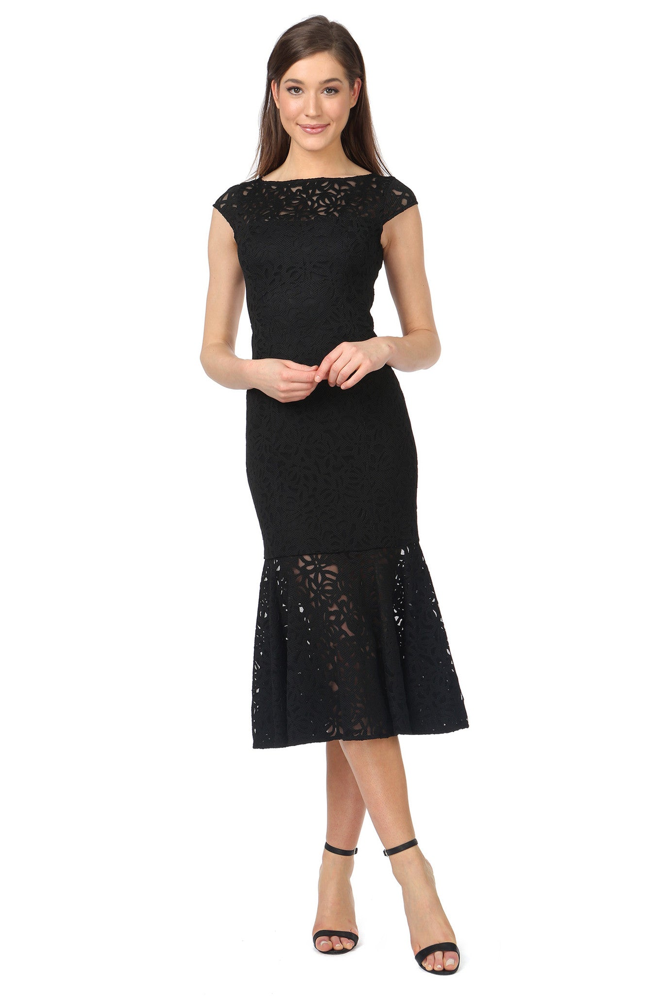 Jay Godfrey Cap-Sleeve Black Lace Dress - Front View