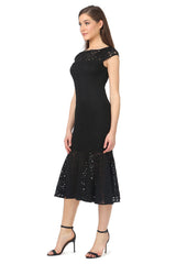 Jay Godfrey Cap-Sleeve Black Lace Dress - Side View