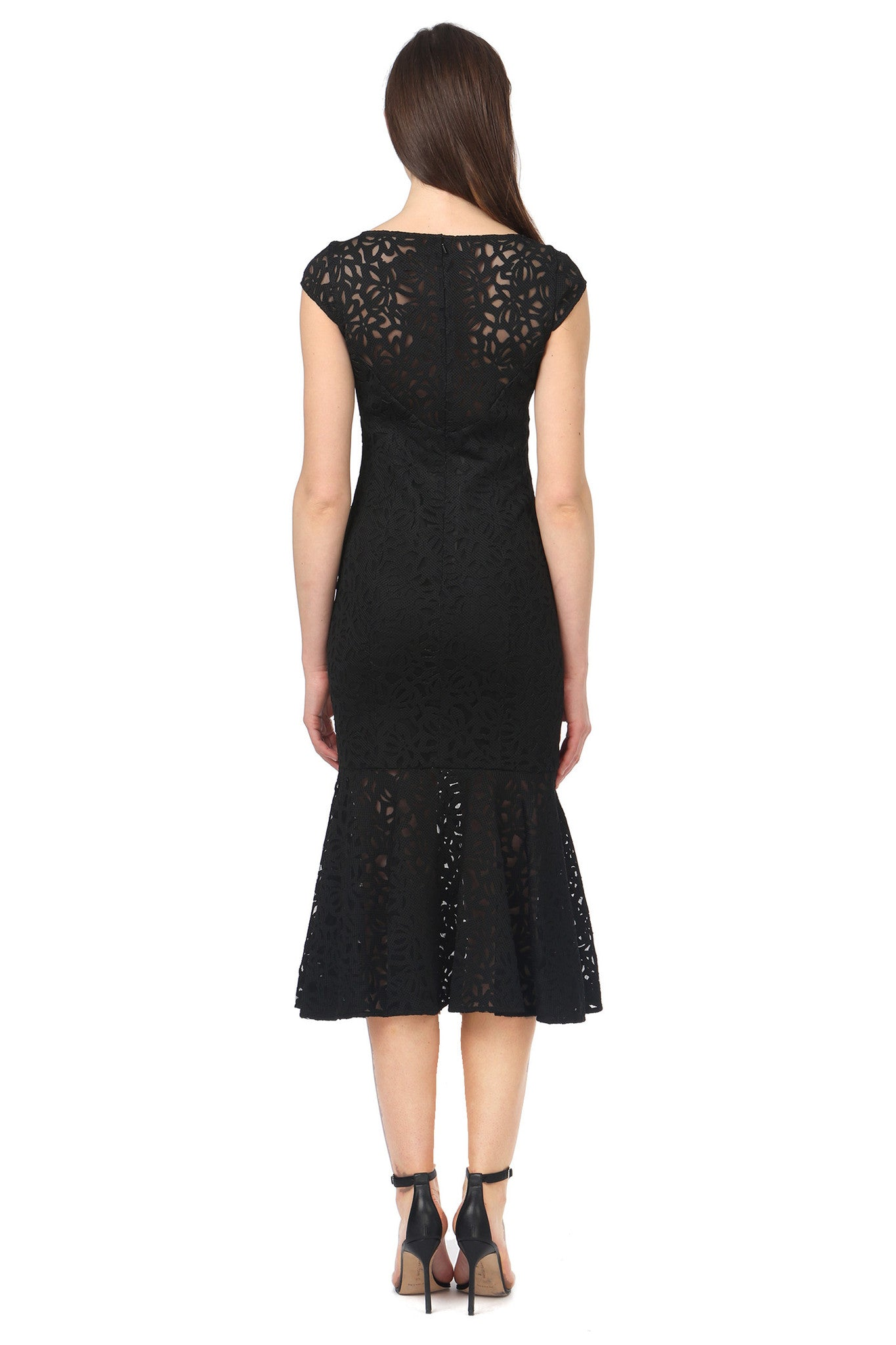 Jay Godfrey Cap-Sleeve Black Lace Dress - Back View