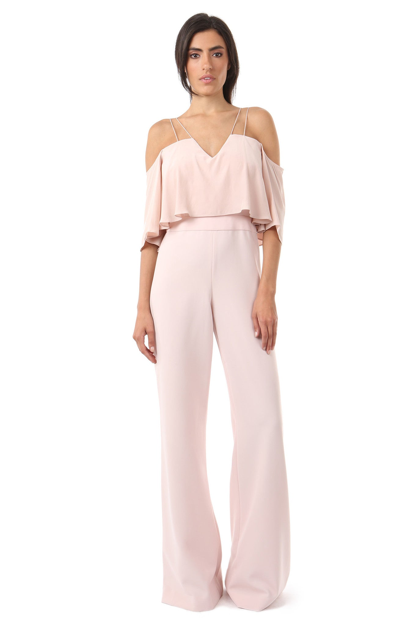 Jay Godfrey Blush Cold-Shoulder Jumpsuit - Front View