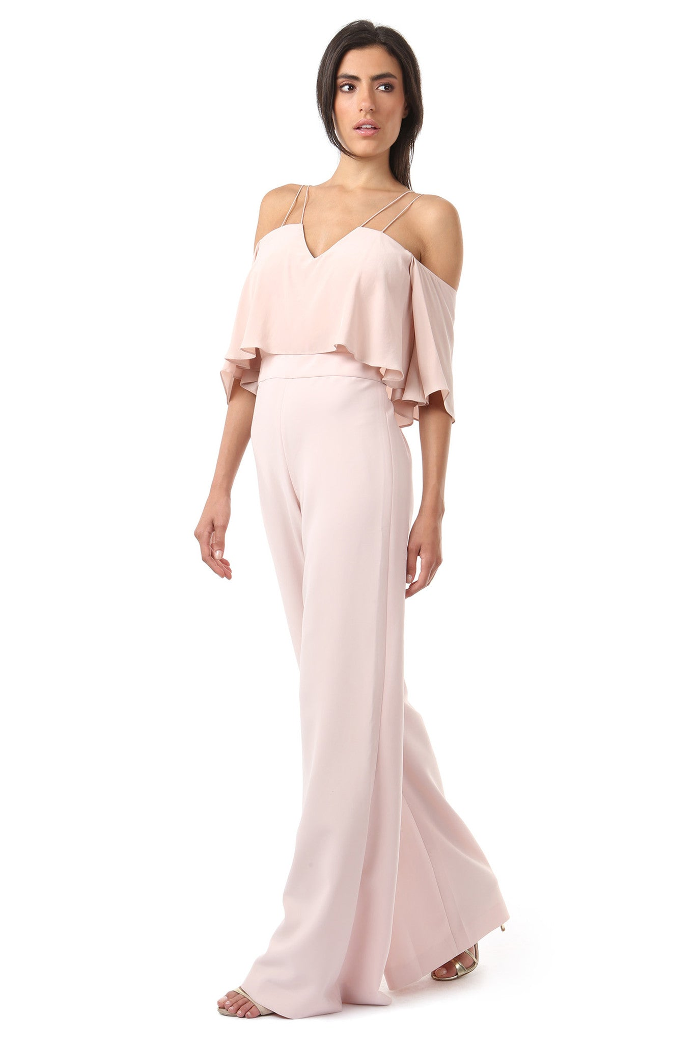 Jay Godfrey Blush Cold-Shoulder Jumpsuit - Side View