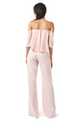 Jay Godfrey Blush Cold-Shoulder Jumpsuit - Back View