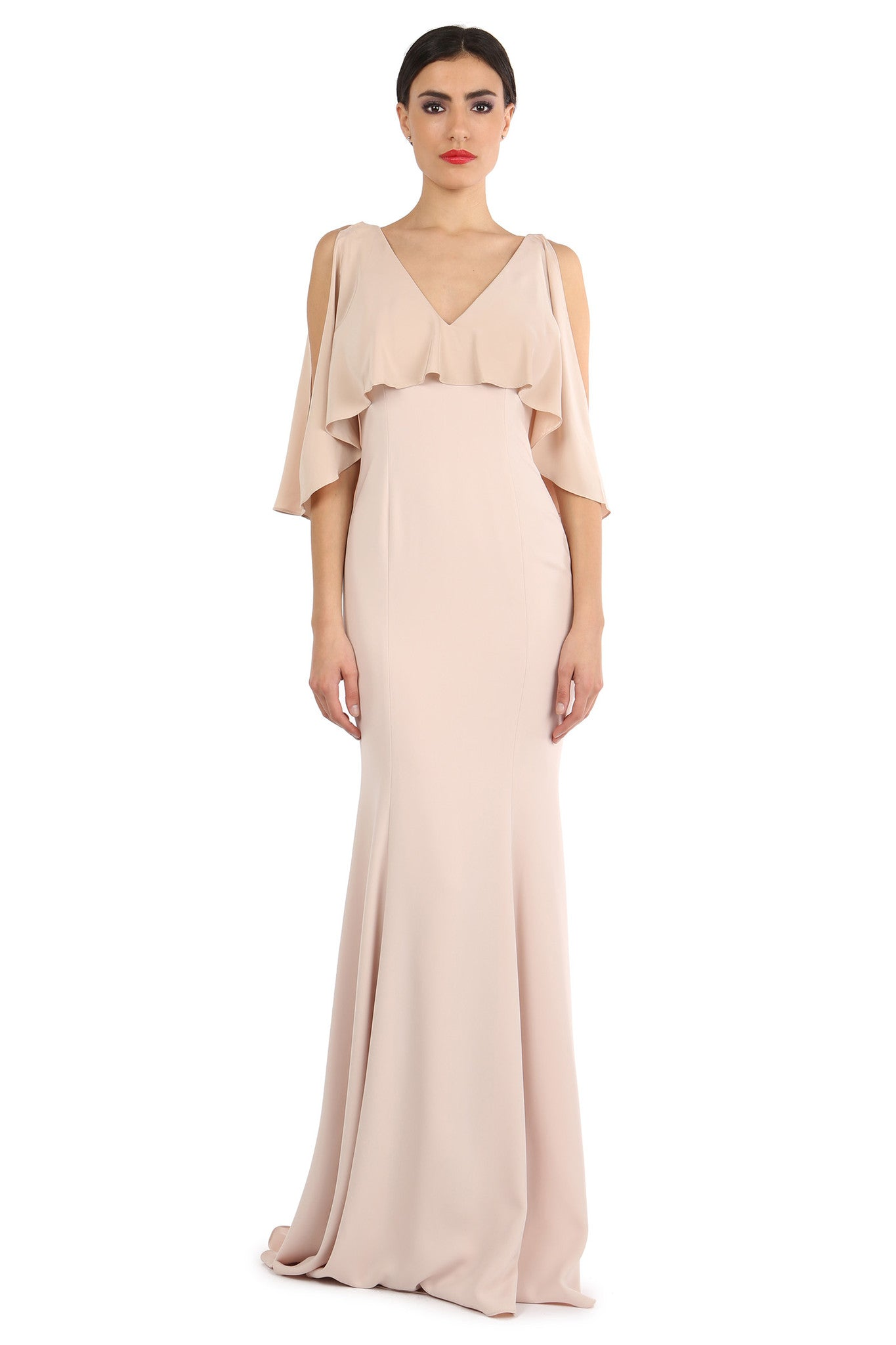 Jay Godfrey Sand Silk Overlay Gown - Front View