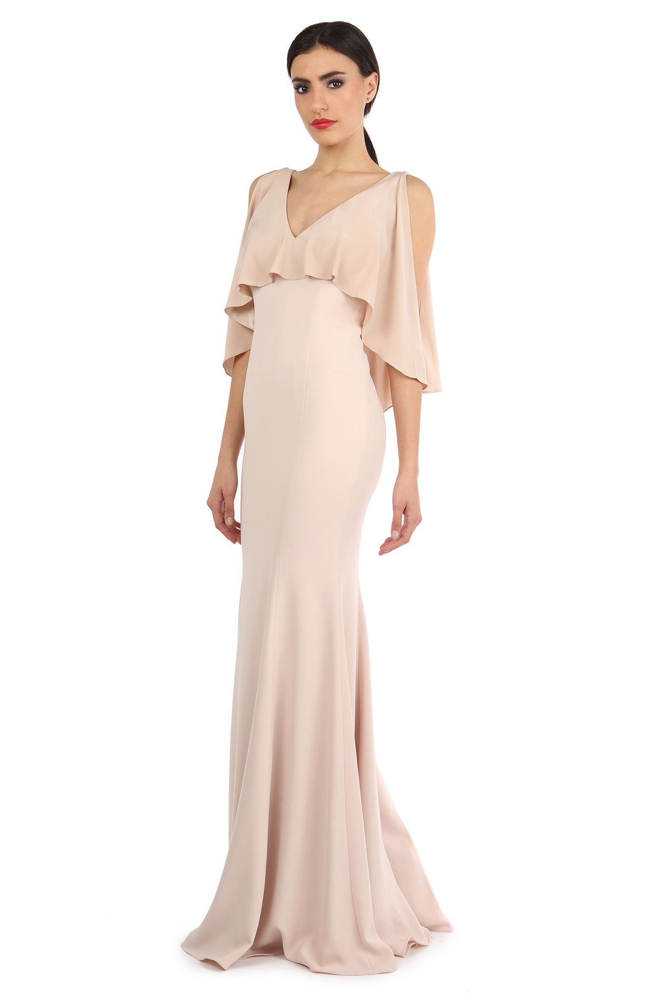 Jay Godfrey Sand Silk Overlay Gown - Side View
