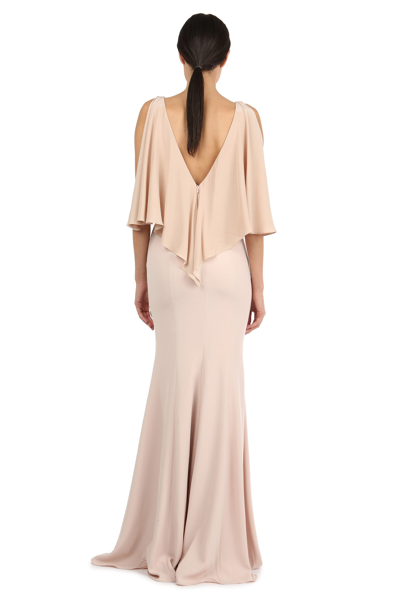 Jay Godfrey Sand Silk Overlay Gown - Back View