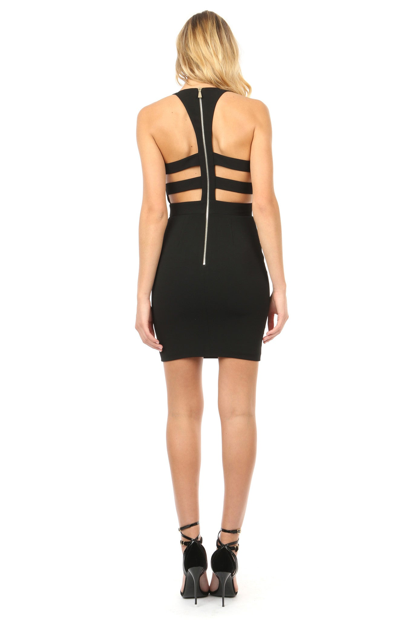 Jay Godfrey Black Deep-V Mini Dress - Back View