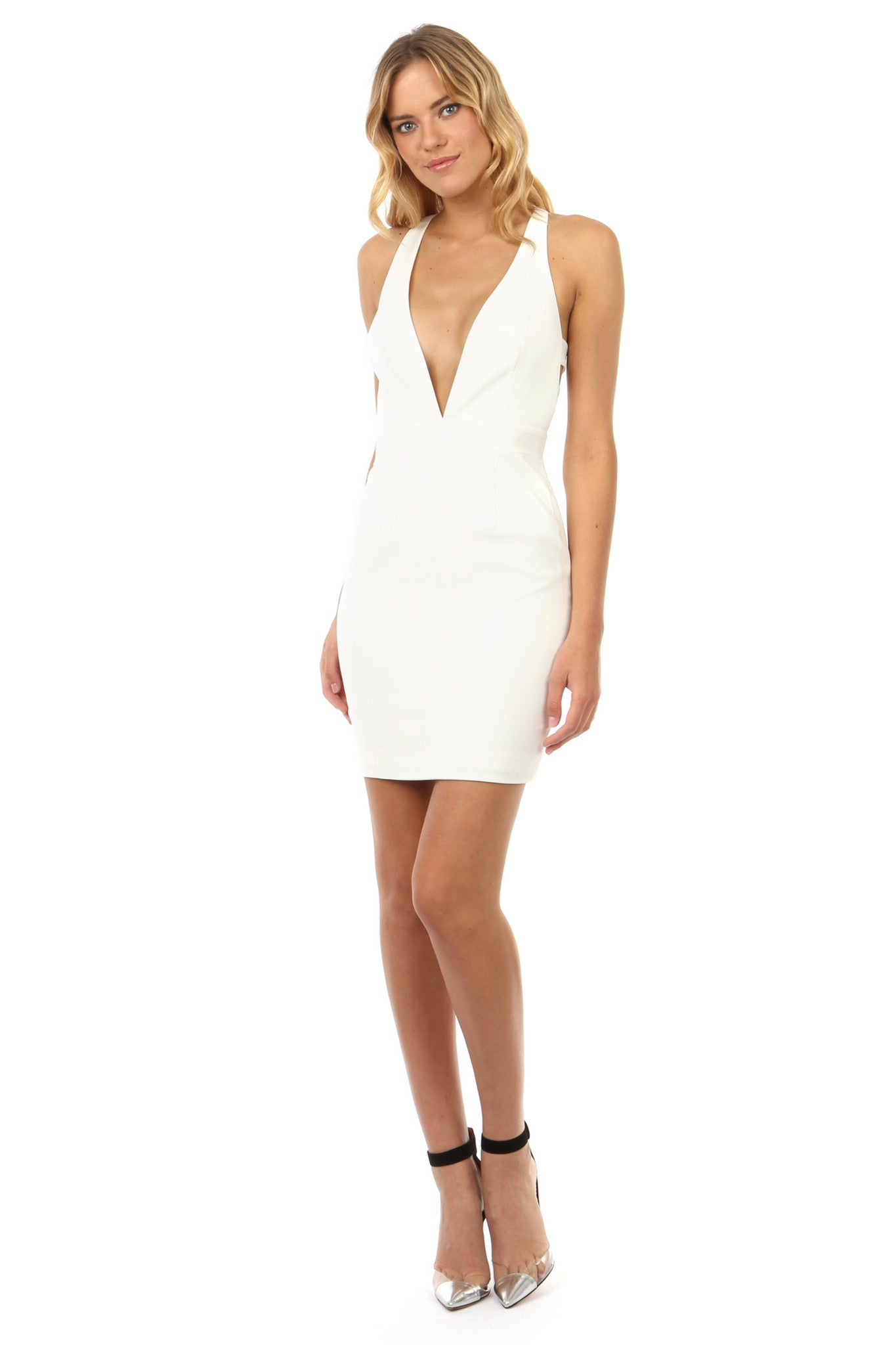 Jay Godfrey Ivory Deep-V Mini Dress - Front View
