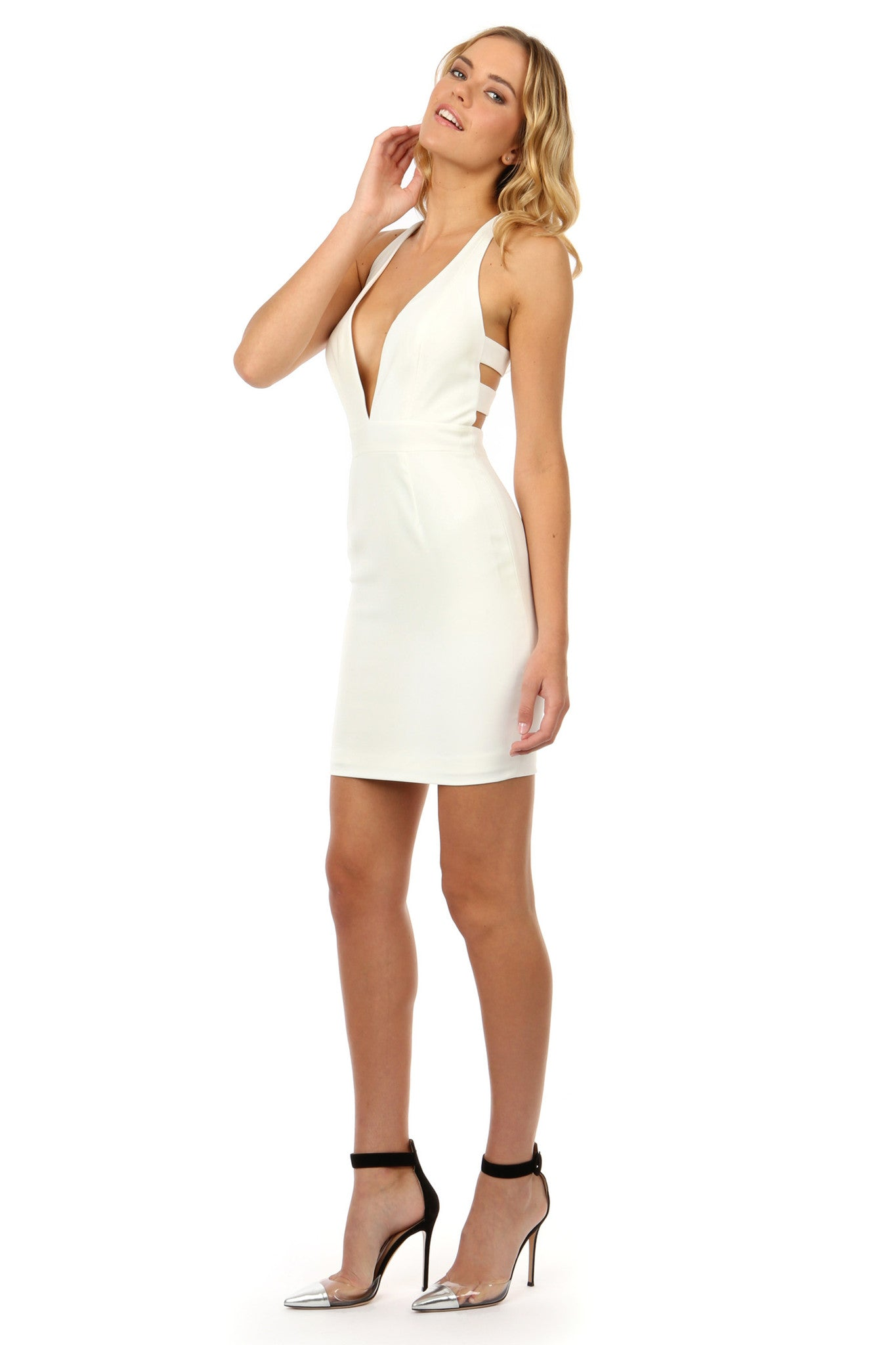 Jay Godfrey Ivory Deep-V Mini Dress - Side View