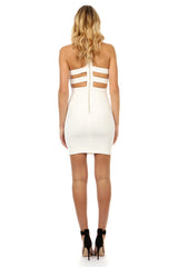 Jay Godfrey Ivory Deep-V Mini Dress - Back View