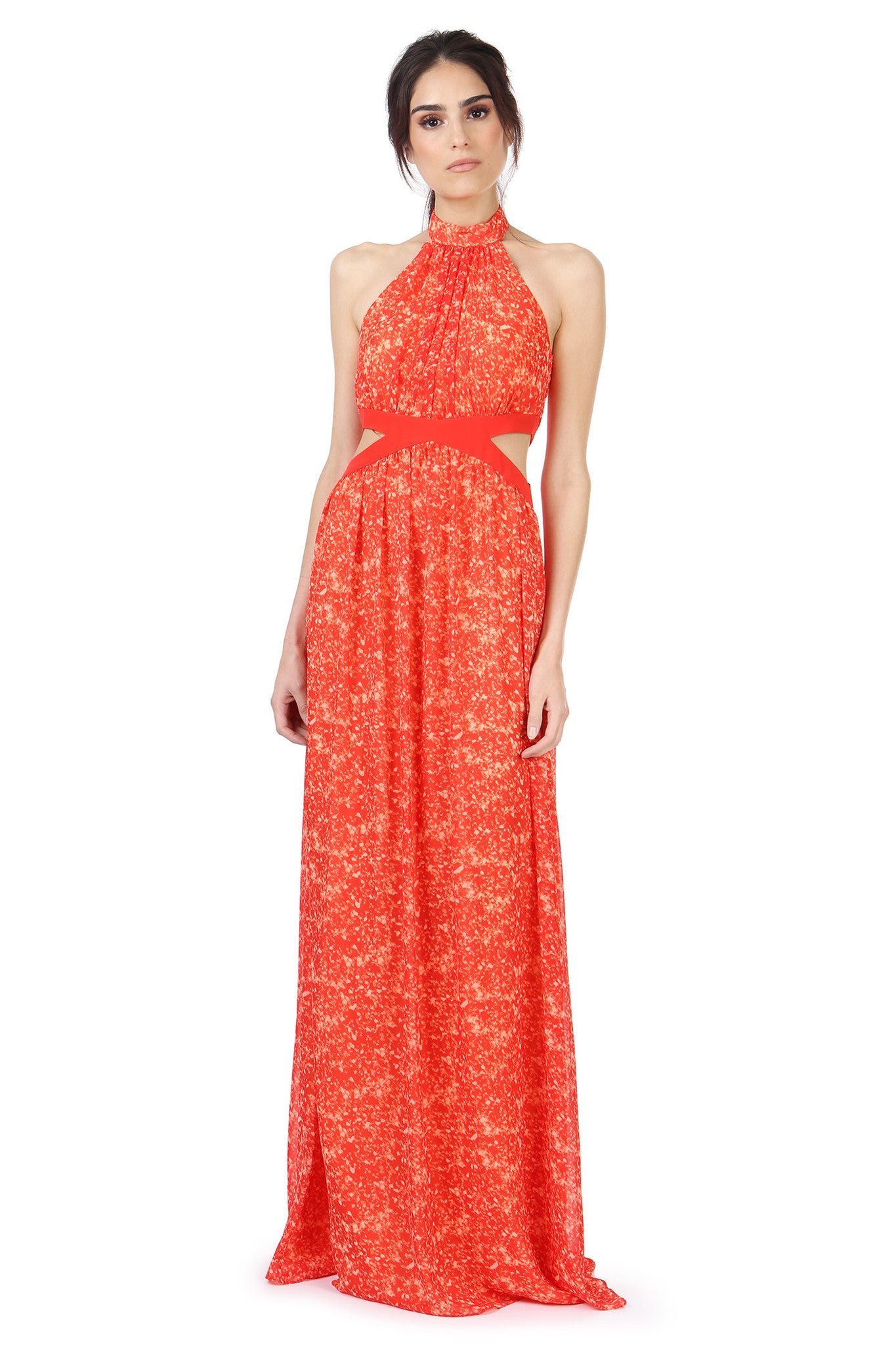 Jay Godfrey Printed Orange Grecian Dress - Front View