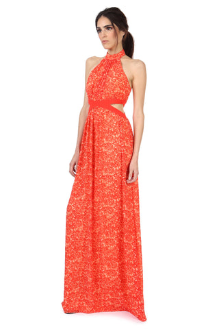PARRIS CORAL RED PRINTED MAXI DRESS