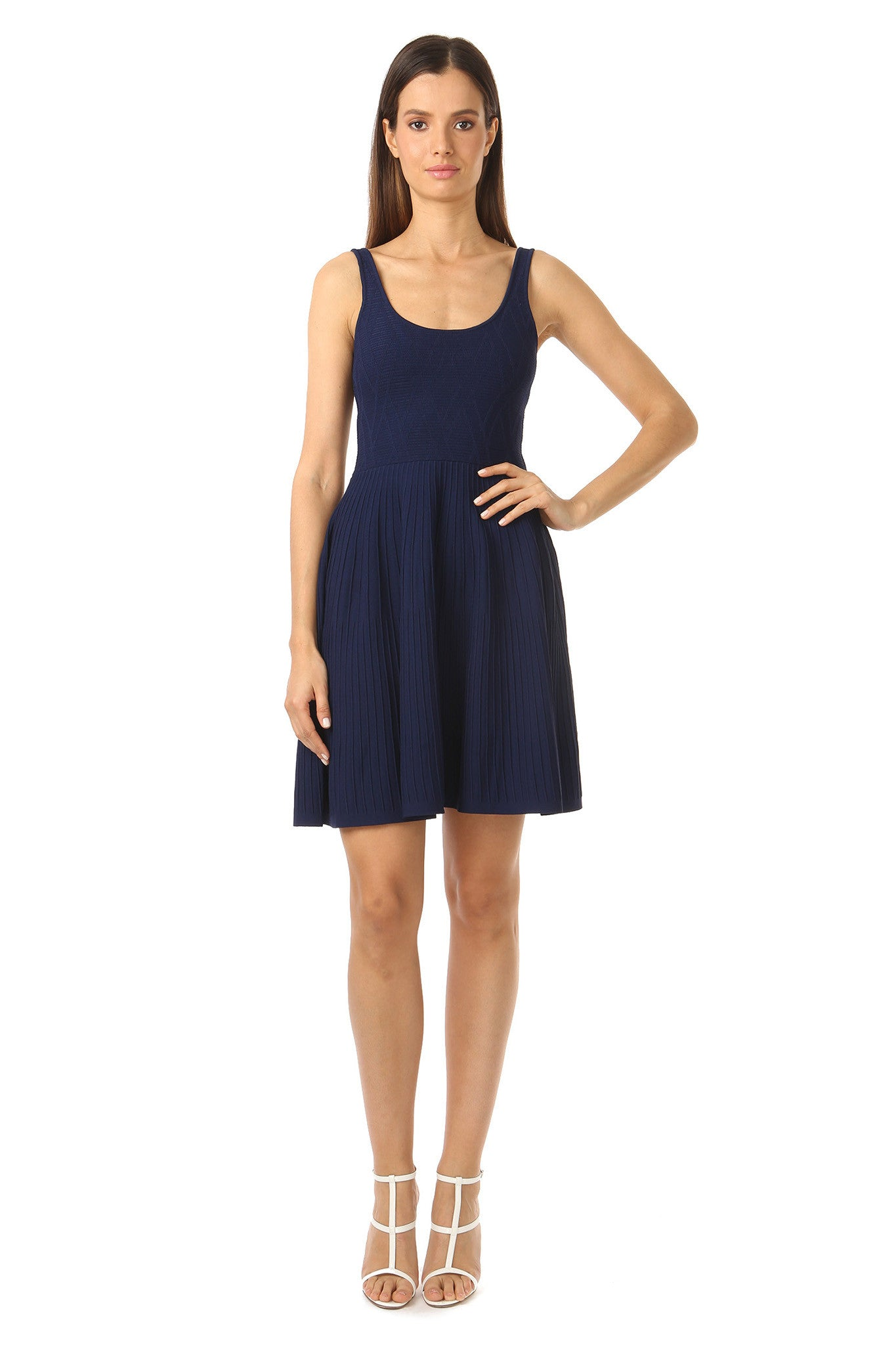 Jay Godfrey Knit Navy Fit and Flare Dress - Front View