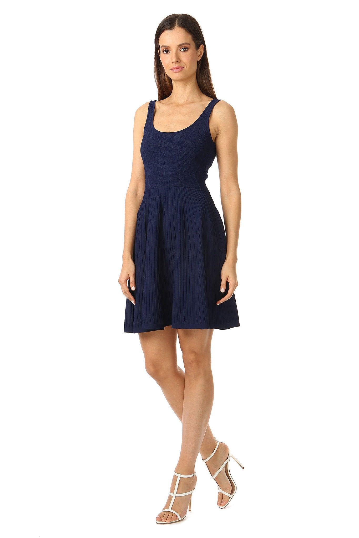 Jay Godfrey Knit Navy Fit and Flare Dress - Side View