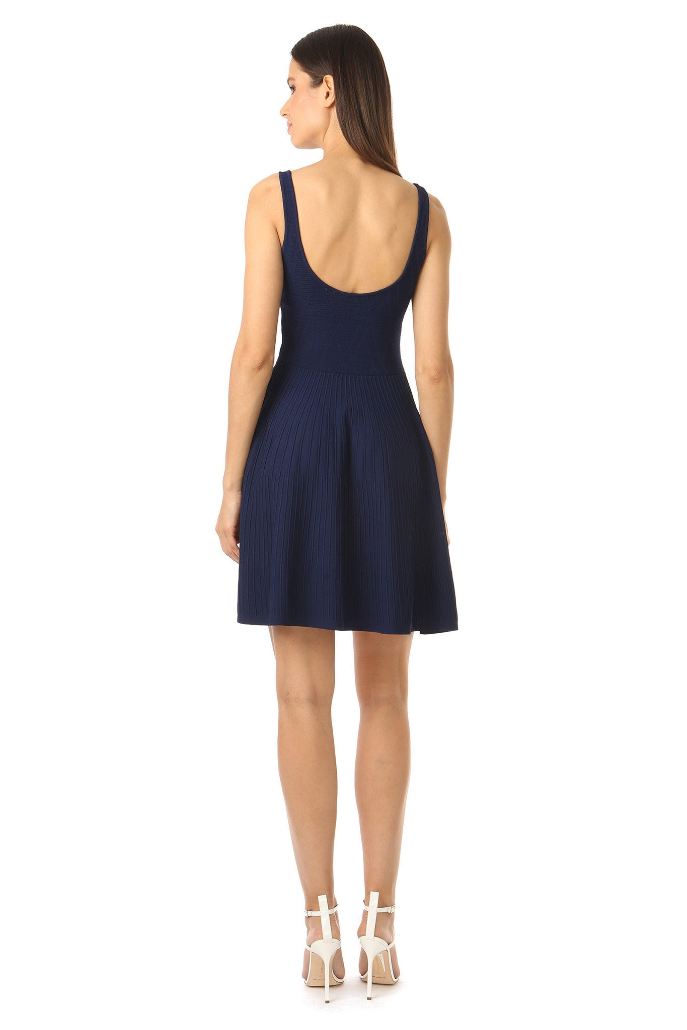 Jay Godfrey Knit Navy Fit and Flare Dress - Back View