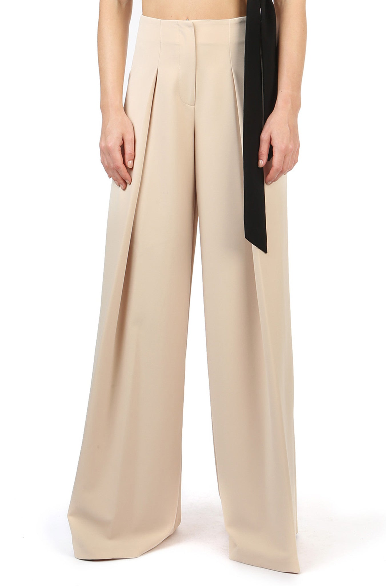 Jay Godfrey Sand Wide-Leg Pants - Front View