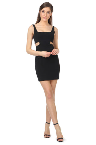 PHELPS BLACK CUT-OUT MINI DRESS