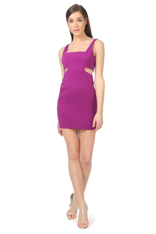 PHELPS PASSION ORCHID CUT-OUT MINI DRESS