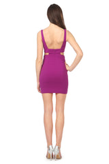 Jay Godfrey Purple Cut-Out Mini Dress - Back View