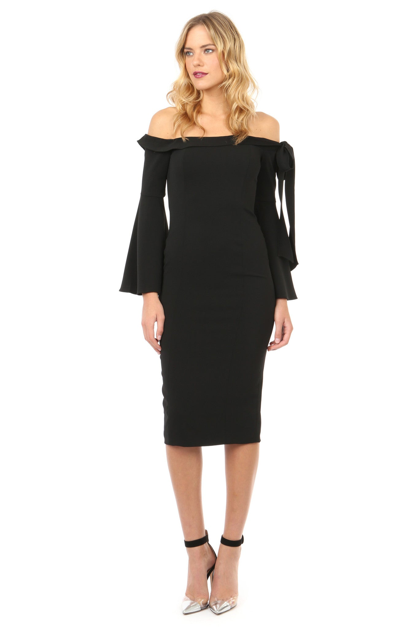 Jay Godfrey Black Off-the-Shoulder Bell Sleeve Dress - Front View