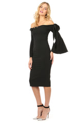 Jay Godfrey Black Off-the-Shoulder Bell Sleeve Dress - Side View