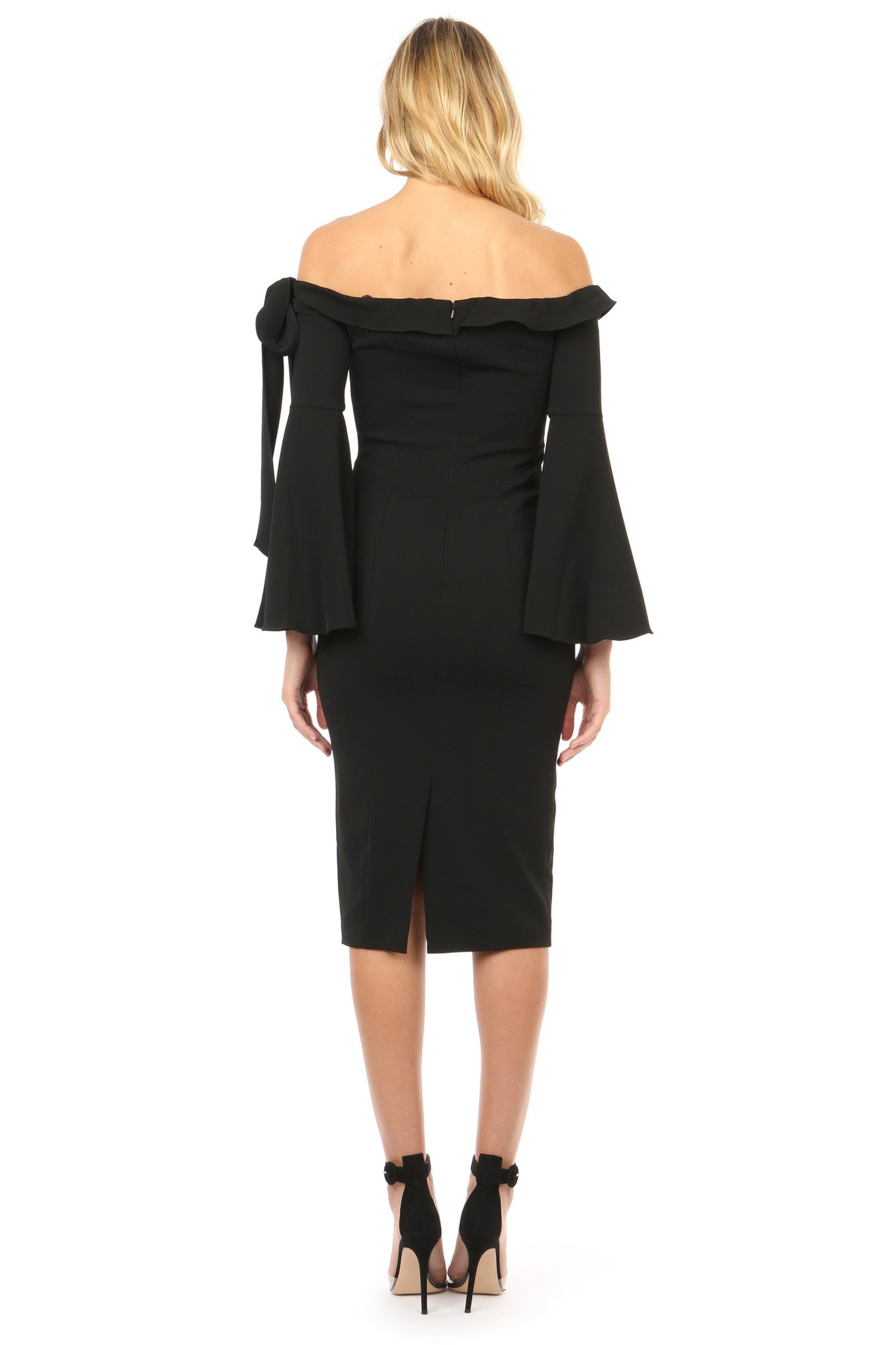 Jay Godfrey Black Off-the-Shoulder Bell Sleeve Dress - Back View