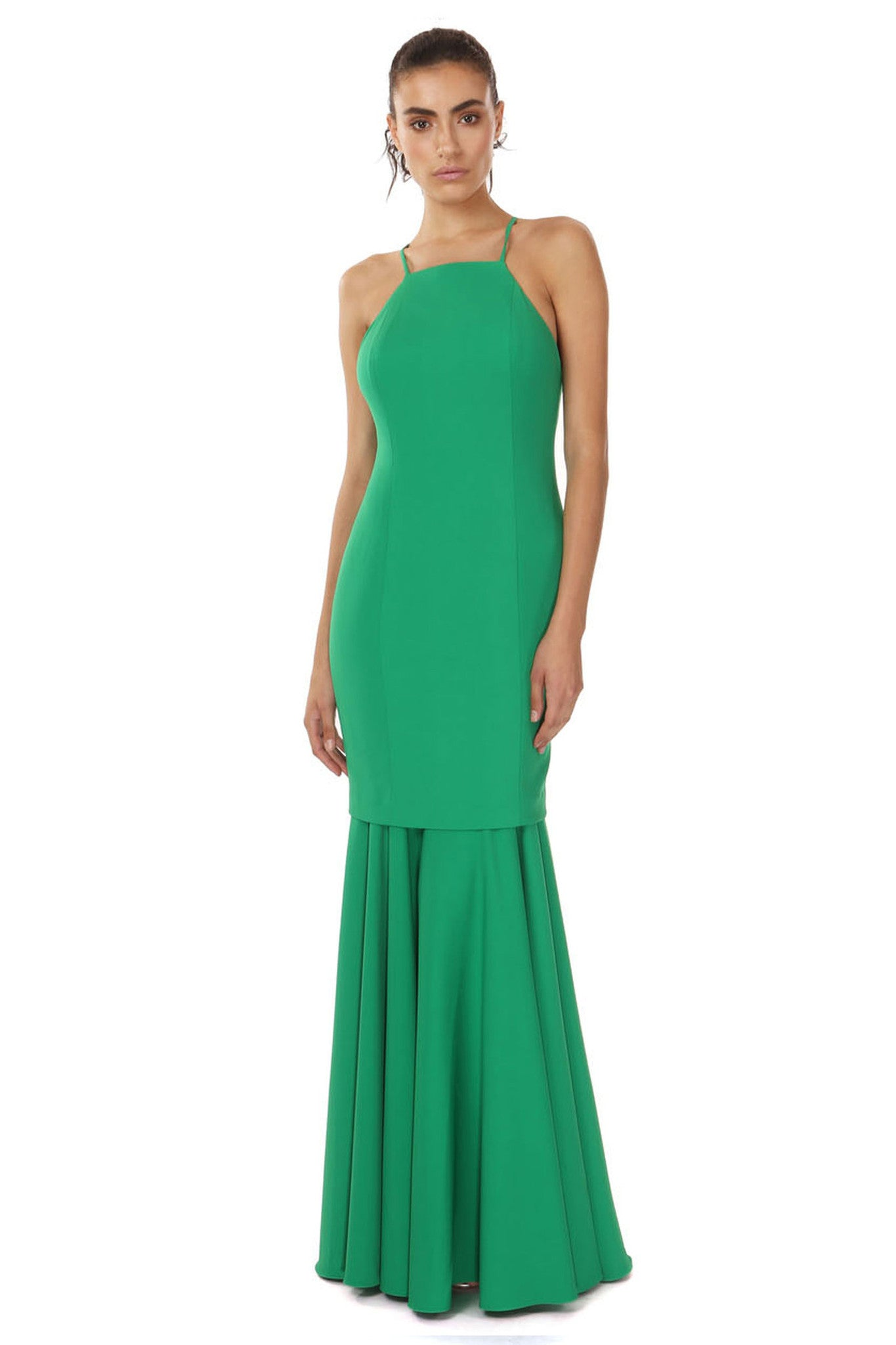 Jay Godfrey Green Flounce Hem Gown - Front View