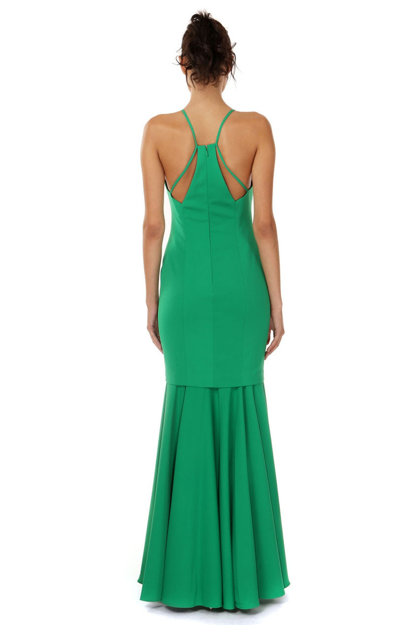 Jay Godfrey Green Flounce Hem Gown - Back View