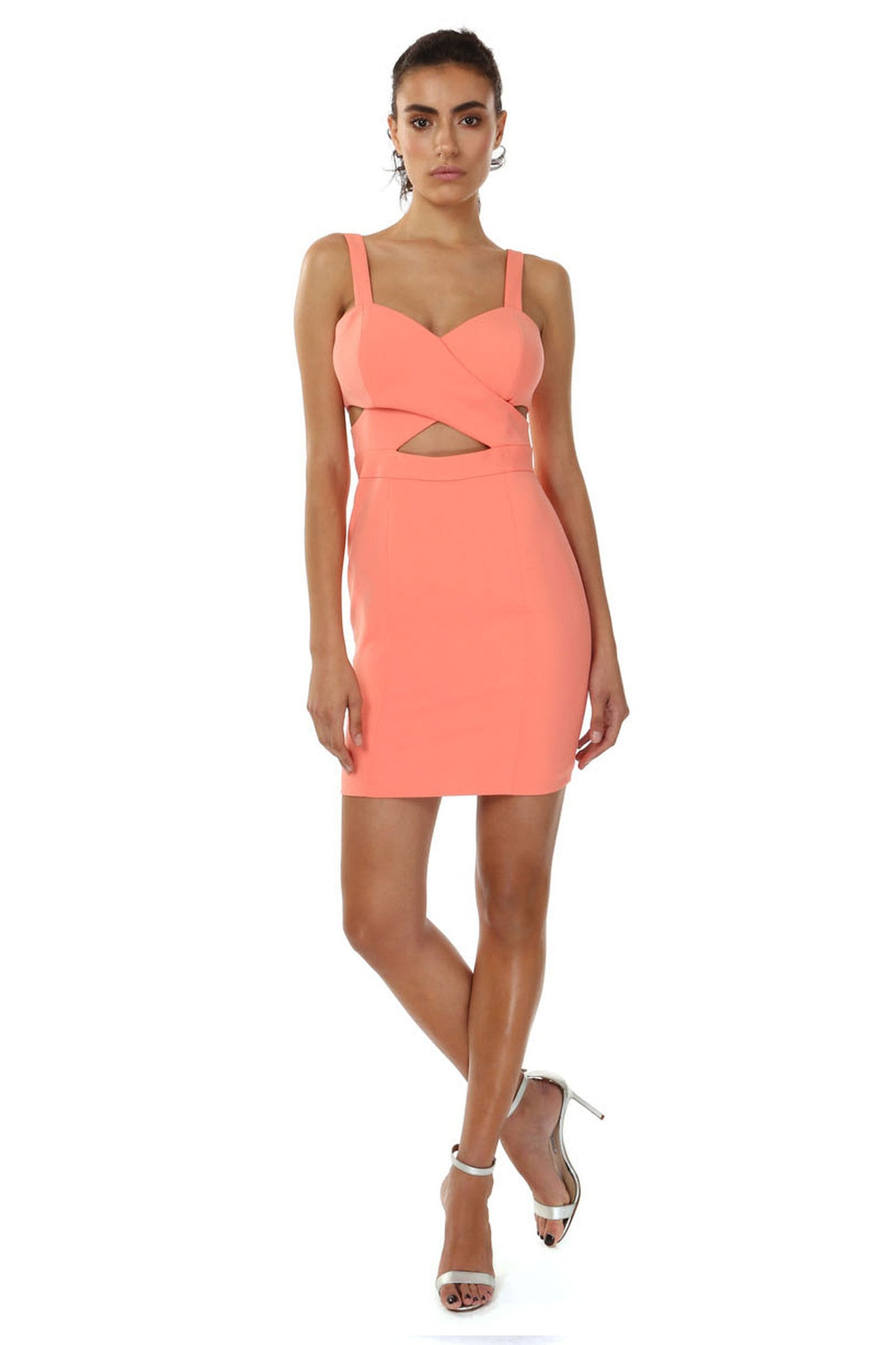 Jay Godfrey Orange Cross Front Mini Dress - Front View