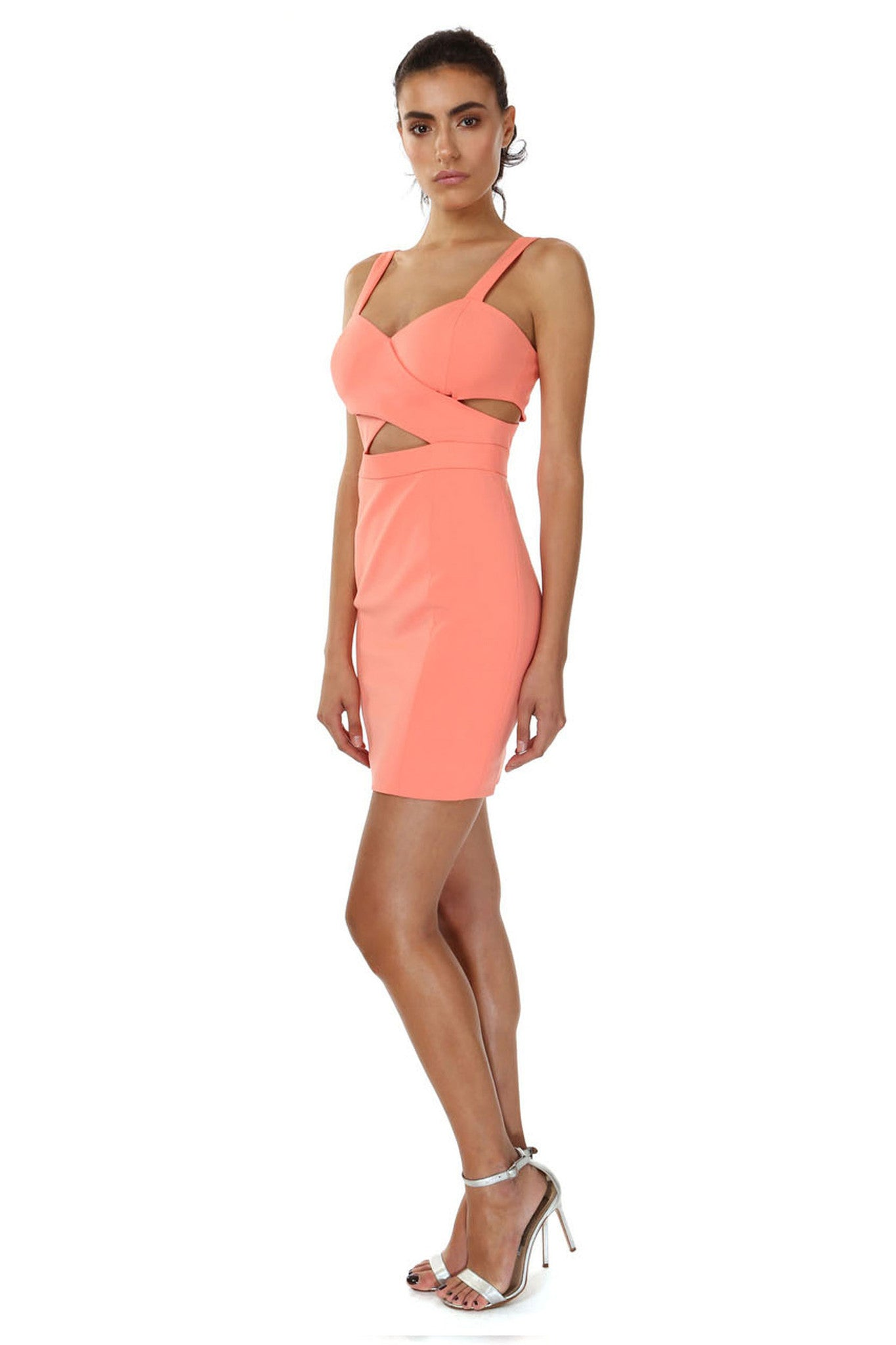 Jay Godfrey Orange Cross Front Mini Dress - Side View