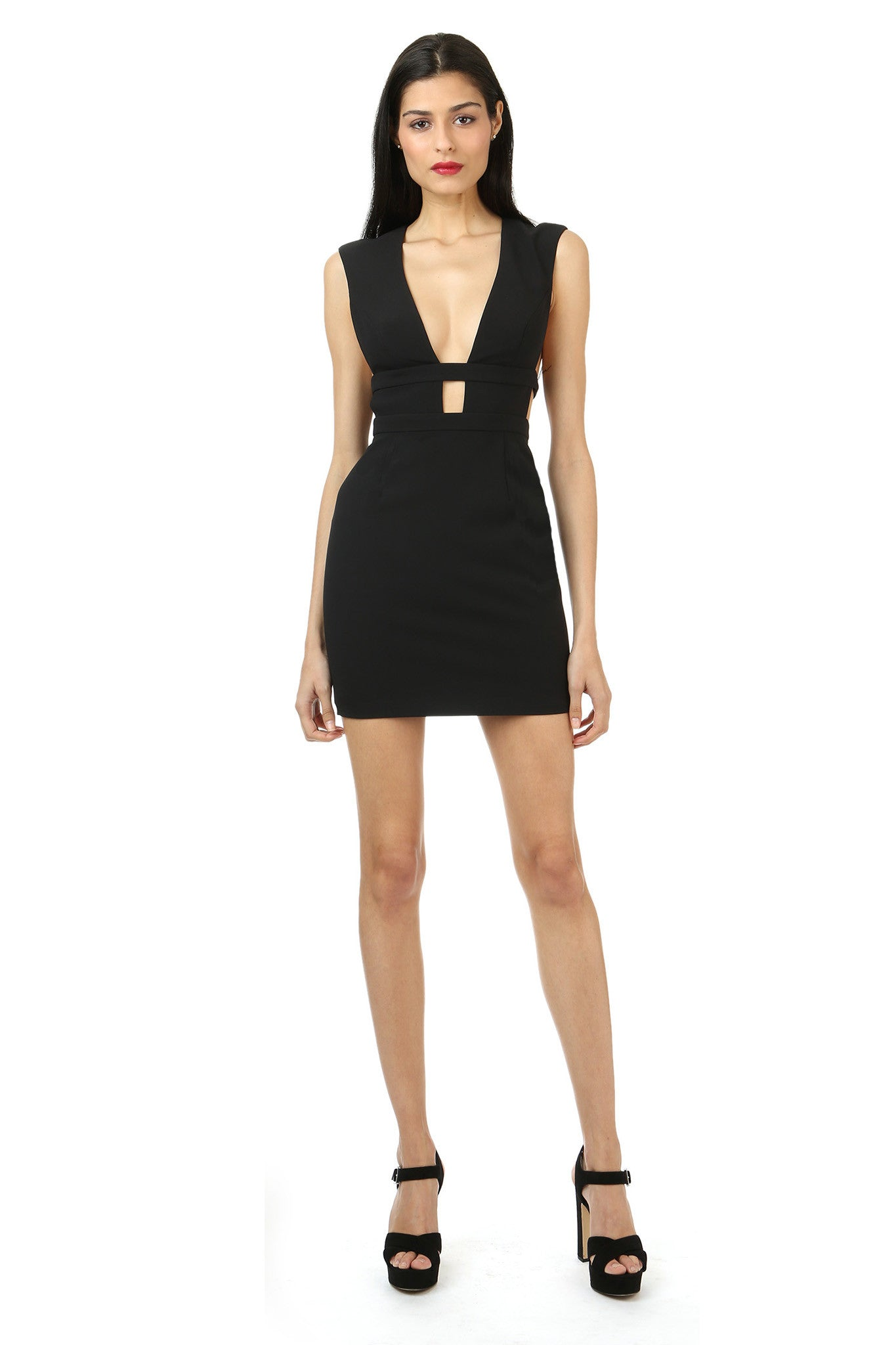 Jay Godfrey Black Cut-Out Mini Dress - Front View