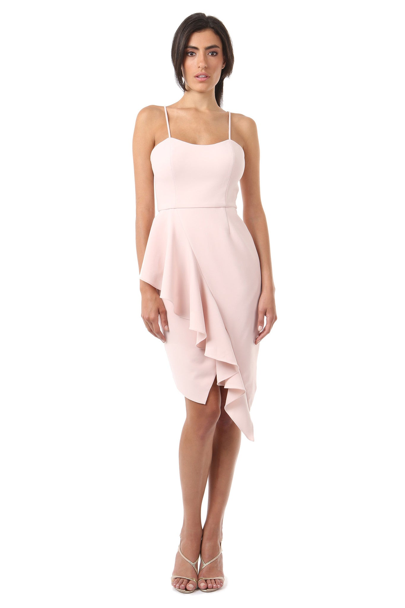 Jay Godfrey Blush Ruffle Tank Top Dress - Front View