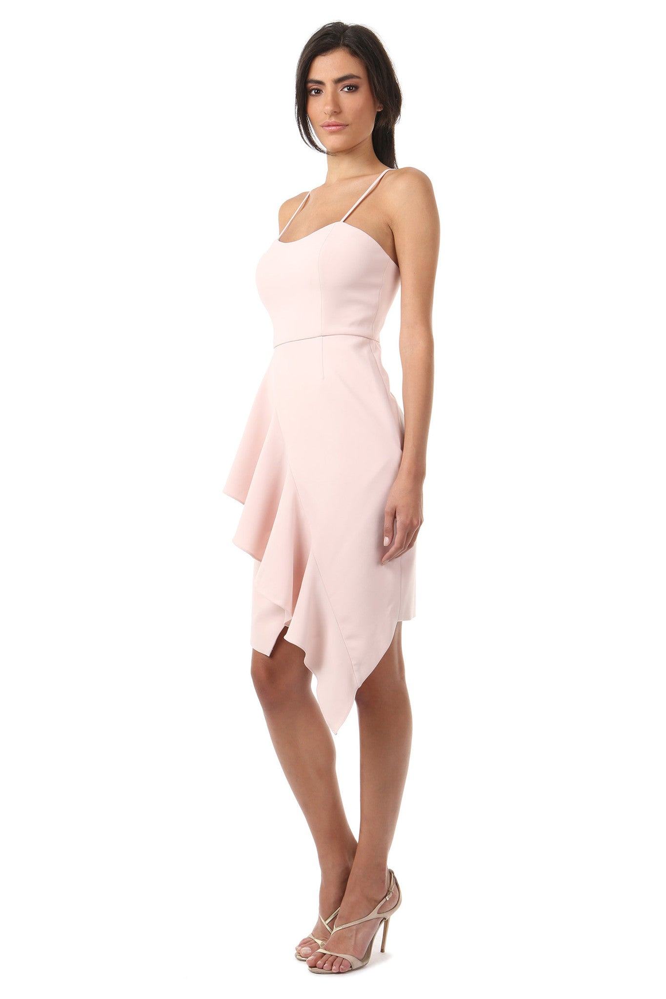 Jay Godfrey Blush Ruffle Tank Top Dress - Side View