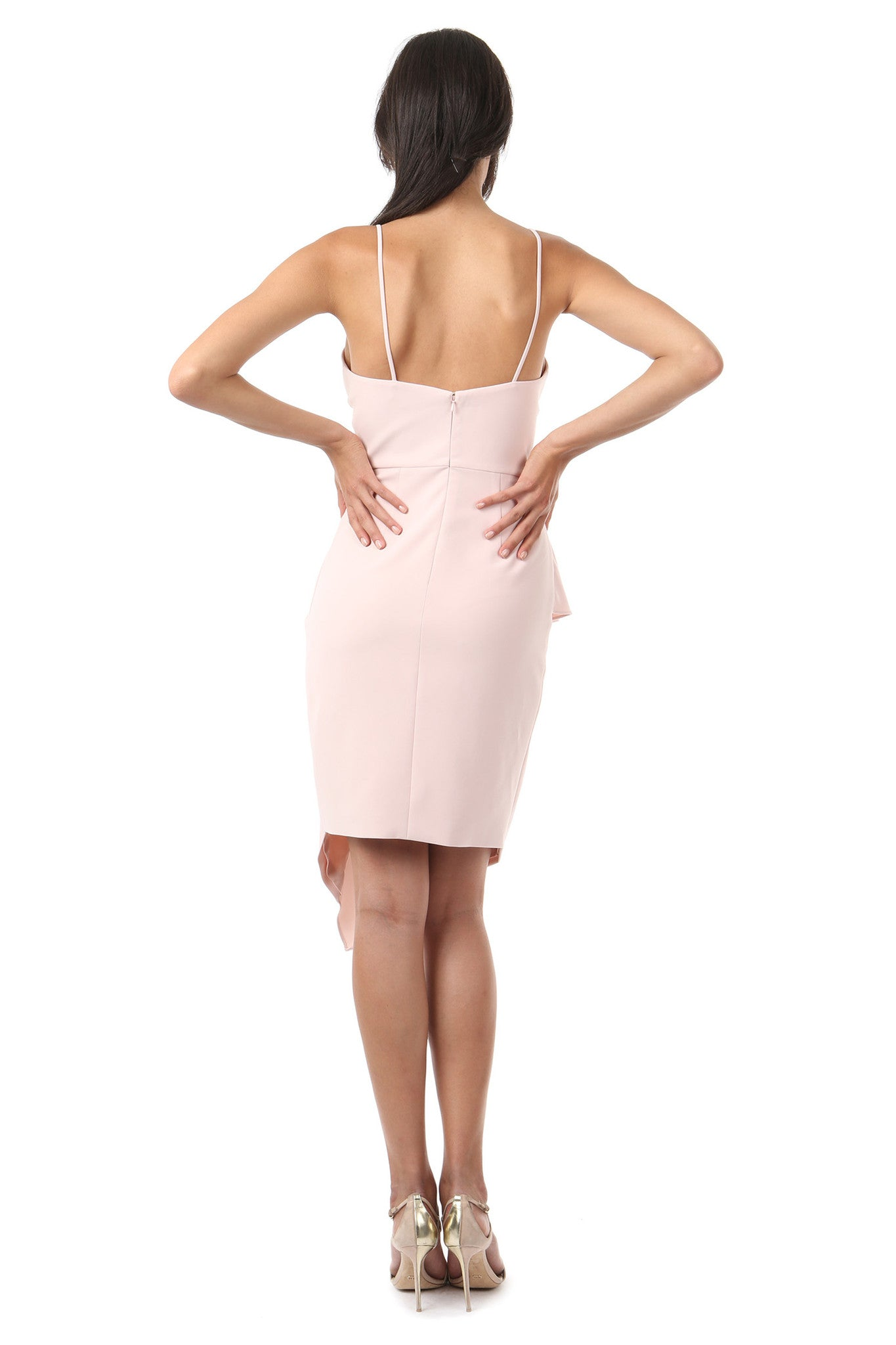 Jay Godfrey Blush Ruffle Tank Top Dress - Back View