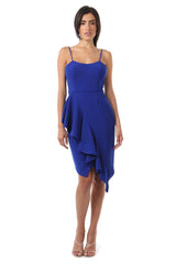 Jay Godfrey Cobalt Ruffle Tank Top Dress - Front View