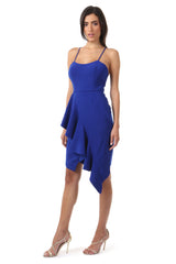 Jay Godfrey Cobalt Ruffle Tank Top Dress - Side View