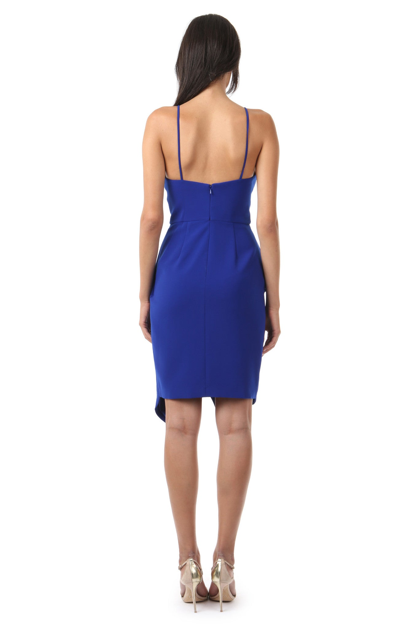 Jay Godfrey Cobalt Ruffle Tank Top Dress - Back View
