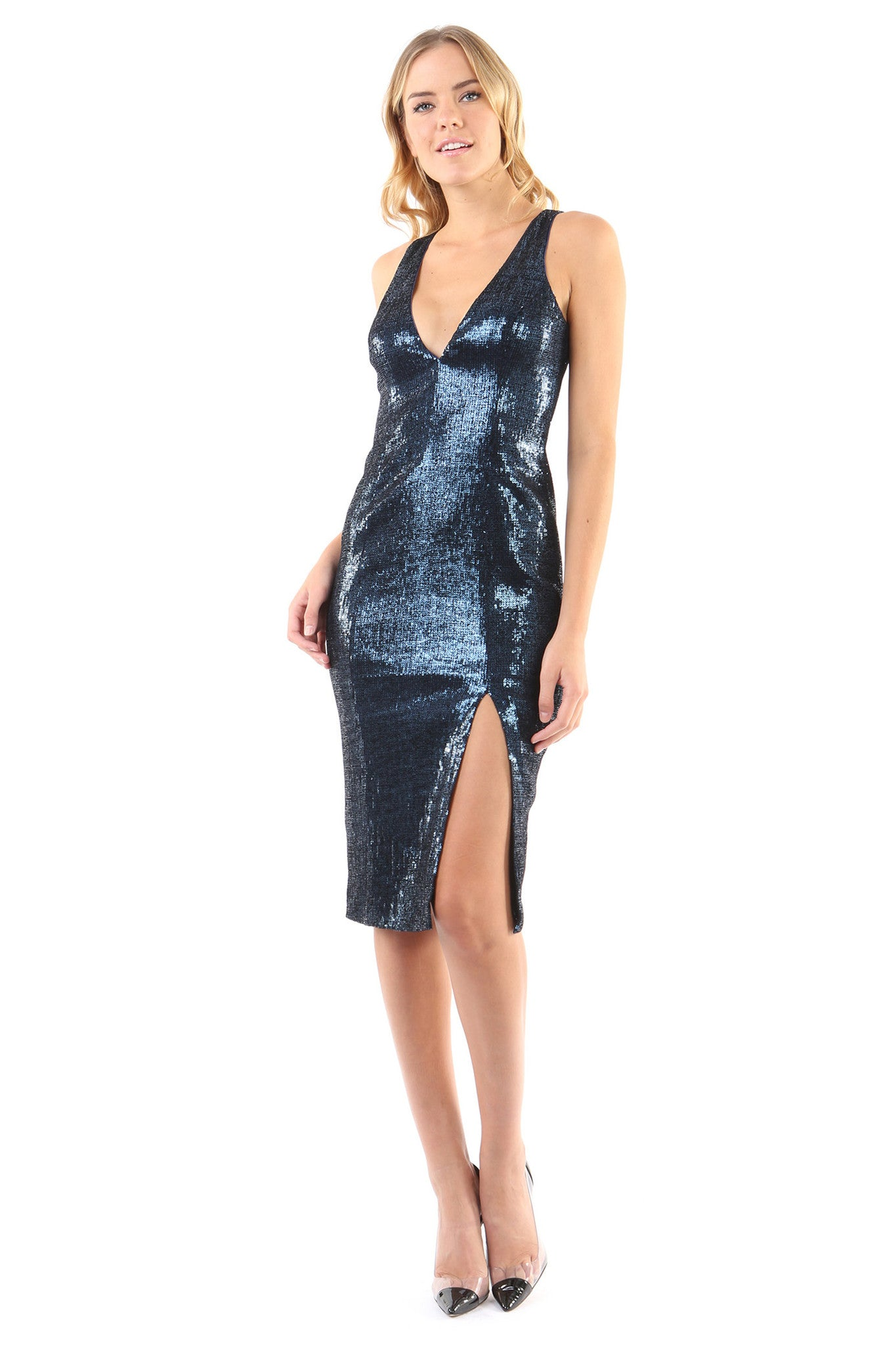 Jay Godfrey Blue Sequin Deep-V Dress - Front View