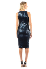 Jay Godfrey Blue Sequin Deep-V Dress - Back View